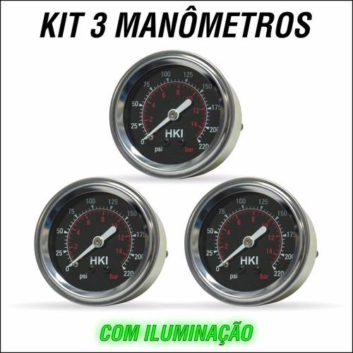 kit 3 manometro importado para suspensao ar fiat uno novo1.0