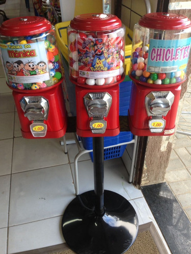 kit 3 máquina de bolinha pula pula + pedestal  semi novo