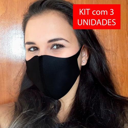 kit 3 máscara ninja neoprene 2mm respirável lavável proteção