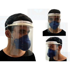 Kit 3 Máscaras De  Proteção Facial Acrílico Transparente Vix