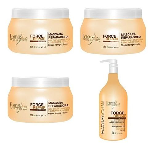 kit 3 máscaras e 1 shampoo force repair - forever liss