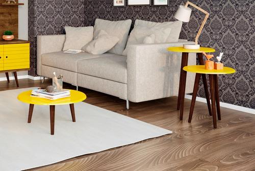 kit 3 mesas de centro e laterais sala de estar cor amarela