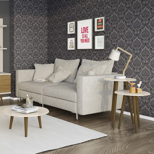kit 3 mesas de centro e laterais sala de estar cor off white