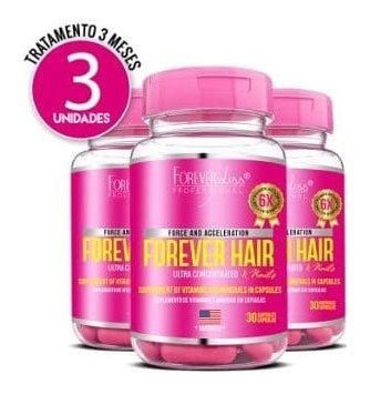 kit 3 meses forever hair crescimento capilar - forever liss