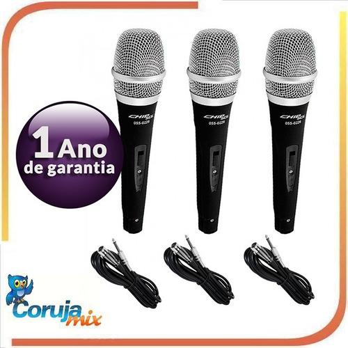 kit 3 microfones profissionais + cabos como shure sm57 sm58
