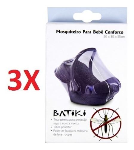 kit 3 mosquiteiro bebê conforto carrinho tela protetora