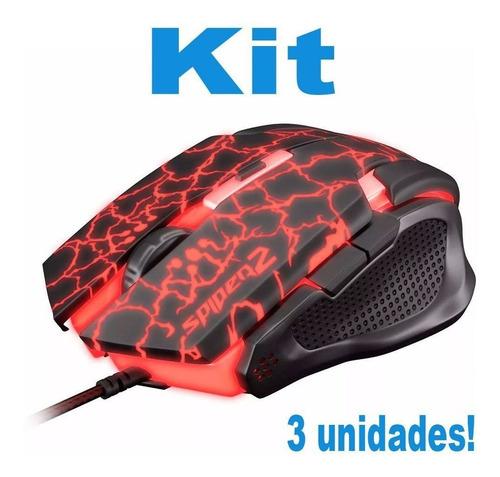 kit 3 mouser confortavel leve gamer pc computador notebook