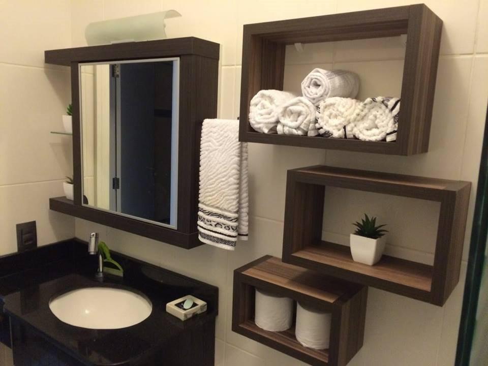 Kit 3 Nichos Branco Linho Amadeirado Mdf 25mm Lindo Banheiro
