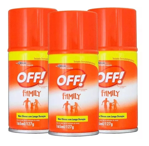 kit 3 off aerosol repelente de insetos family 3x165ml off!