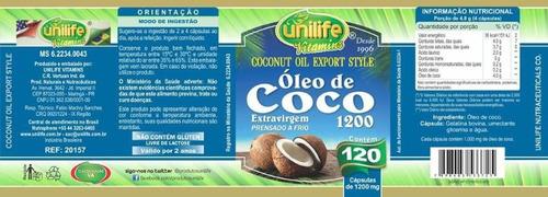kit 3 óleo de coco extra virgem - unilife - 120 cápsulas