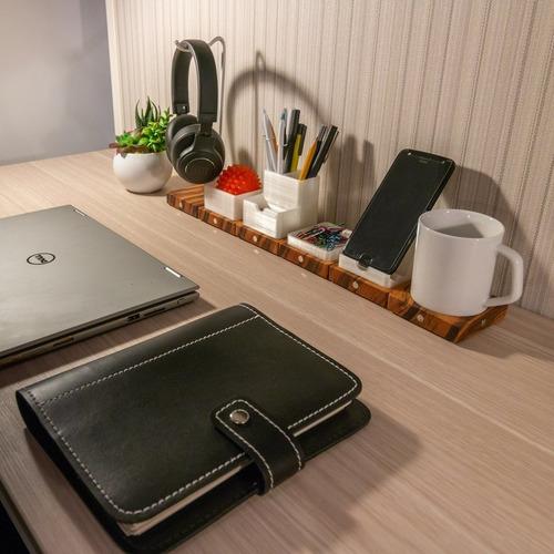 kit 3 organizador de mesa magnético modular para escritório