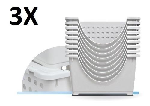 kit 3 organizador empilhavel com 3 gavetas cada caixa guarda