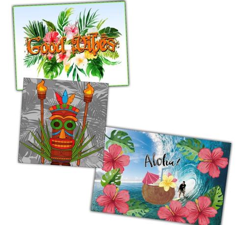 kit 3 painéis em papel pra decoração festa havaiana -- aloha