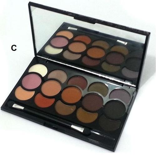 kit 3 paleta sombras fosca estojo maquiagem jasmyne +pincéis