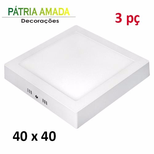 kit 3 panel plafon led quadrado luminaria sobrepor 40x40 36w r 570 00 em mercado livre. Black Bedroom Furniture Sets. Home Design Ideas