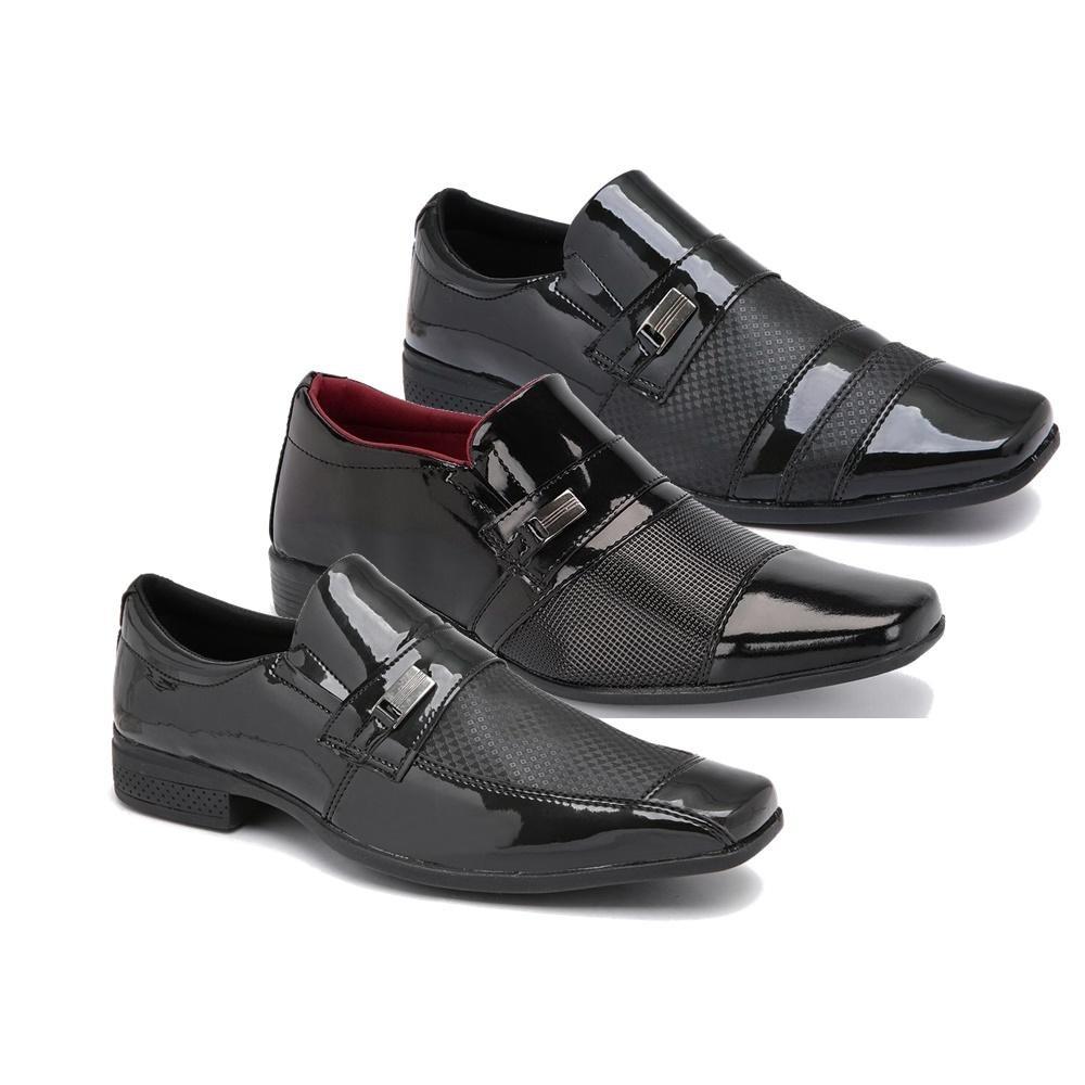52dc24ea0 Kit 3 Pares De Sapato Social Elegance Verniz Schiareli - R$ 99,90 em ...