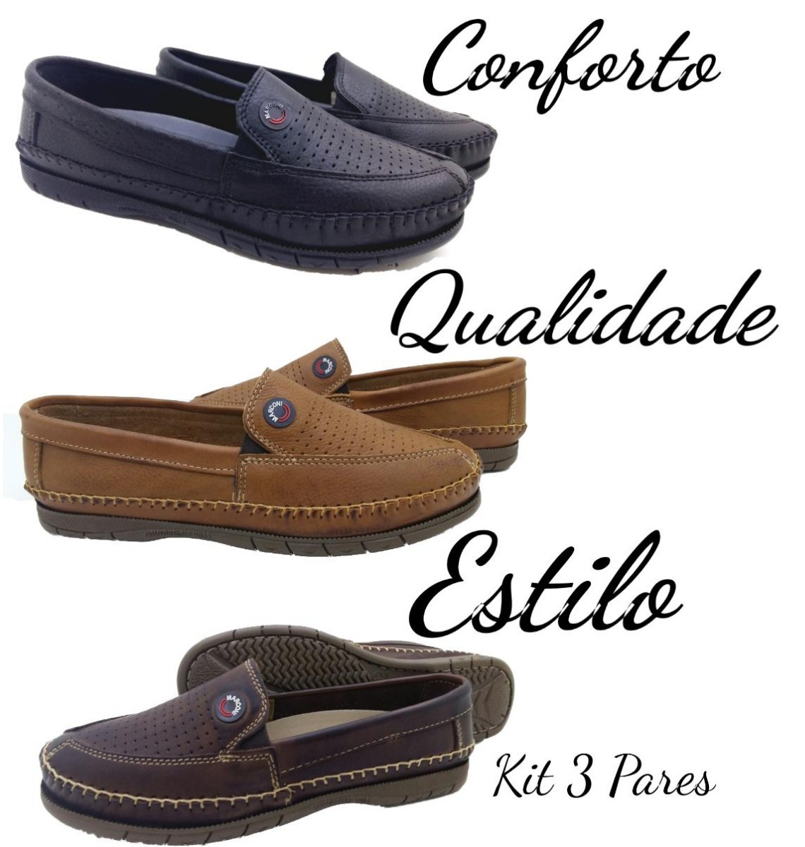 dfeee3742b kit 3 pares mocassim masculino sapatilha sapato casual couro. Carregando  zoom.