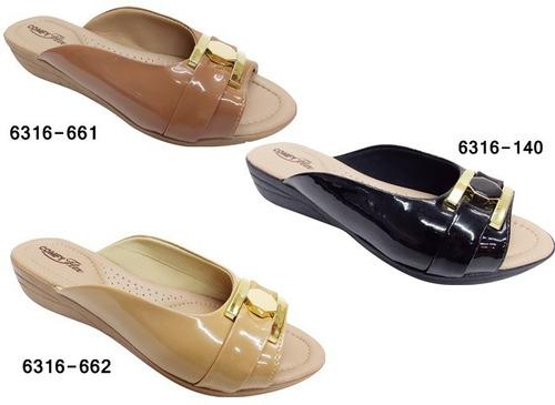 kit 3 pares sandalia tamanco anabela adequada p joanetes