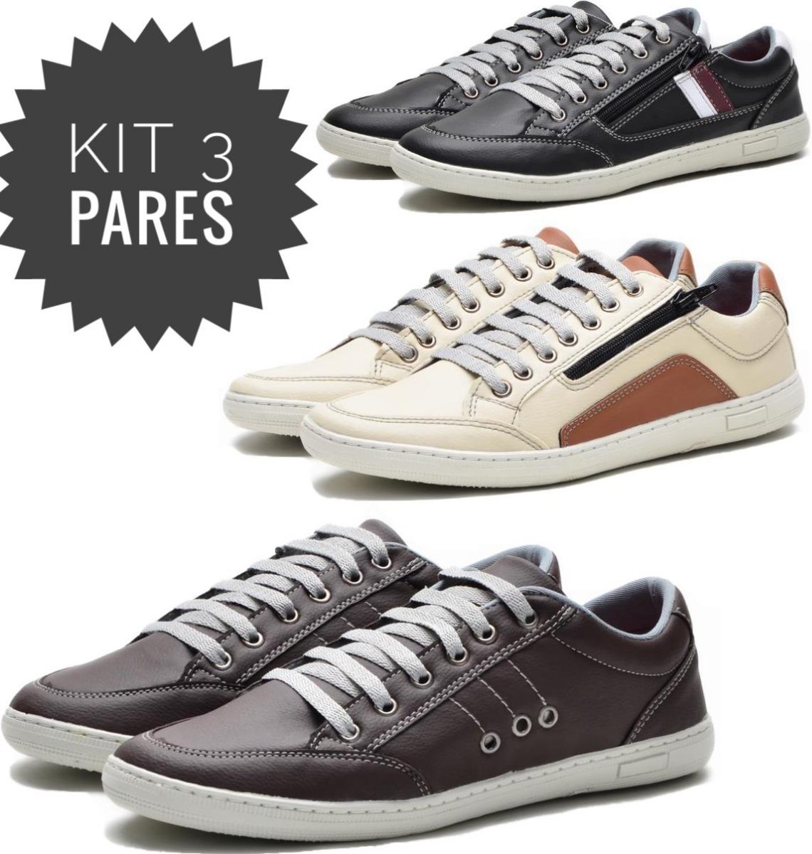 2060194377 kit 3 pares sapatenis masculino tenis casual sapato dockside. Carregando  zoom.