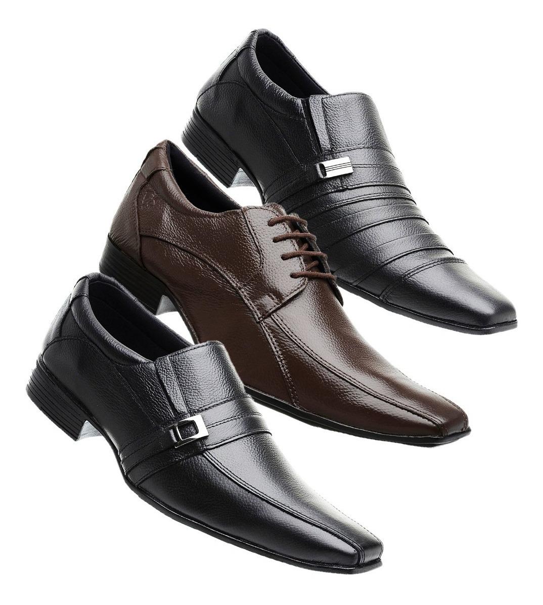 feb926545 kit 3 pares sapato masculino couro frete grátis ath c l. Carregando zoom.