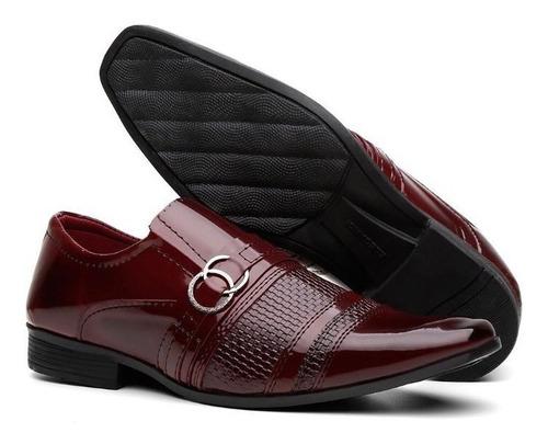kit 3 pares sapato masculio social verniz  carteira e cinto