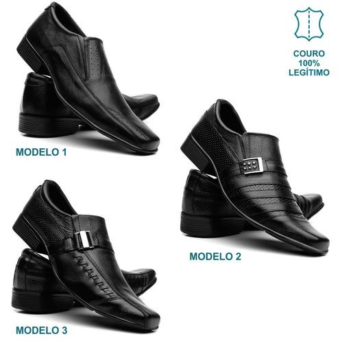 kit 3 pares sapato social masculino couro franca