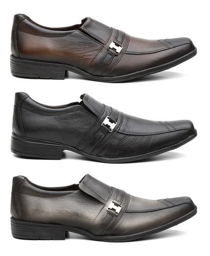 kit 3 pares sapato social masculino em couro legitimo 12x