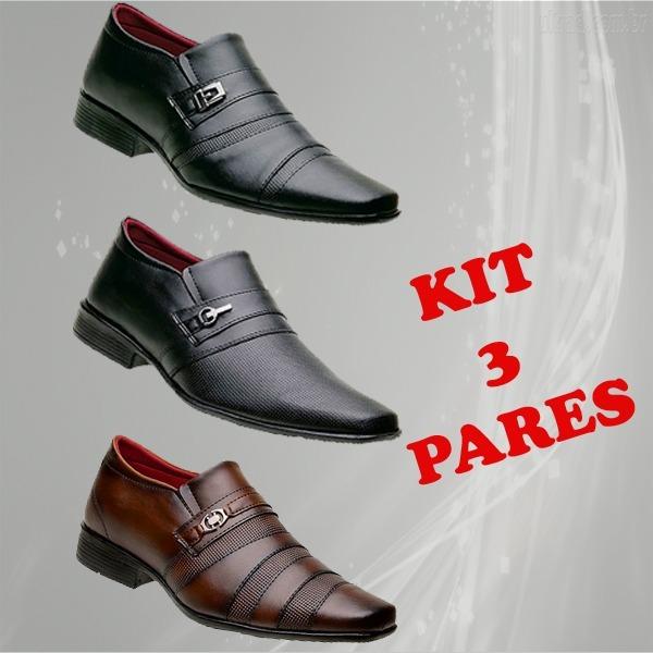 2b90e0e673 Kit 3 Pares Sapato Social Masculino Preto E Marrom Ref16 - R$ 159,90 ...