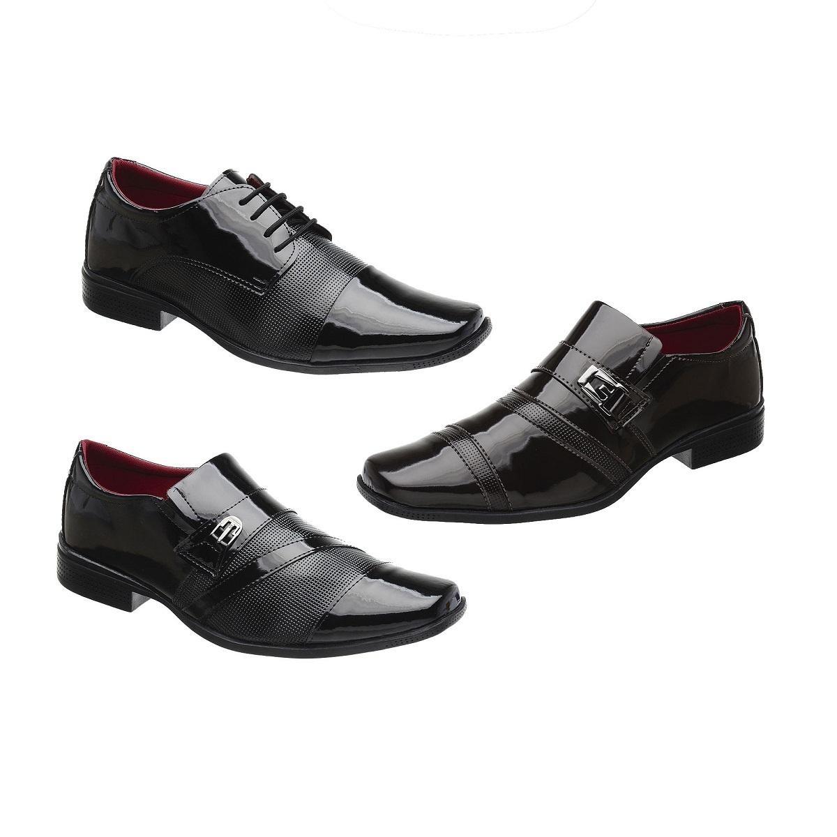 f8f67e477 kit 3 pares sapato social masculino verniz khaata. Carregando zoom.