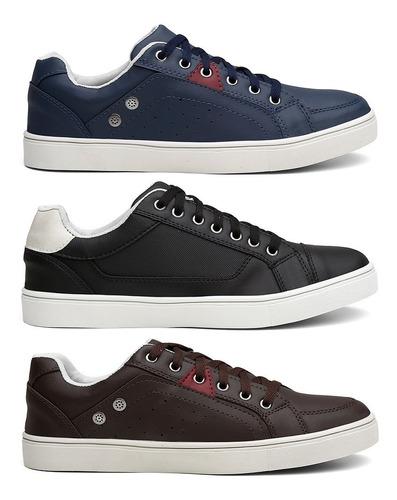 kit 3 pares tenis casual  masculino sapato oferta + frete