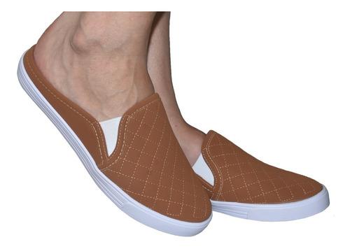 kit 3 pares tênis feminino tipo mule sapatilha slip on 352
