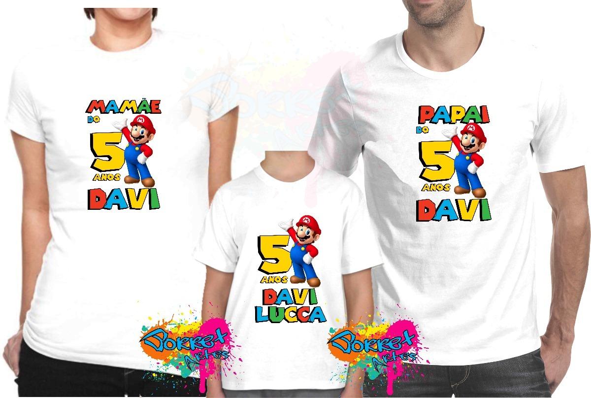 27b9388729 Kit 3 Pçs Camisa Personalizada P  Festa Super Mario Bros A4 - R  74 ...