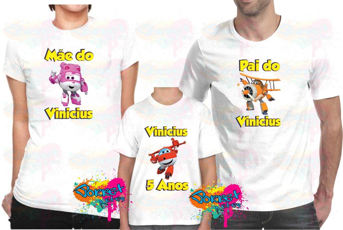 Kit 3 Pçs Camisa Personalizada P  Festa Super Wings A4 - R  65 c7c799920d7a8