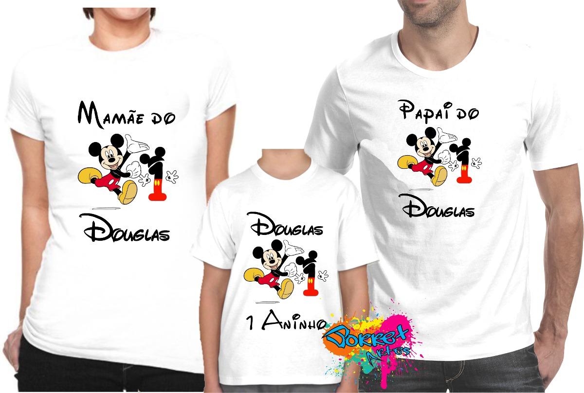 13f0347905 Kit 3 Pçs Camiseta - Camisa P  Festa Personalizada Mickey A4 - R ...
