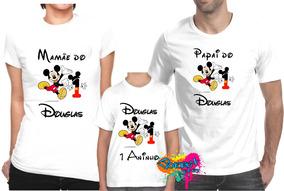 28f934220d Kit 3 Pçs Camiseta - Camisa P  Festa Personalizada Mickey A4