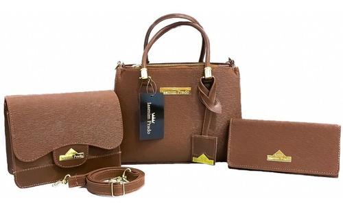 kit 3 pecas bolsa feminina grande