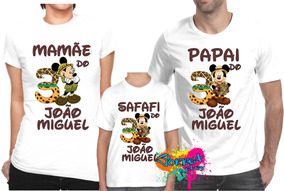 4e365fa95d Kit 3 Peças Camisa Personalizada Para Festa Mickey Safari A3