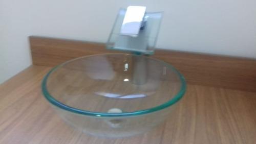 kit 3 peças cuba de vidro 30cm. + torneira monaco + válvula