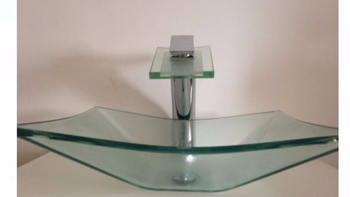 kit 3 peças cuba de vidro 41cm + torneira monaco + válvula