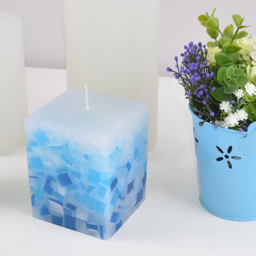 kit 3 peças velas mosaico azul degradê 7,5x7,5x9,5cm