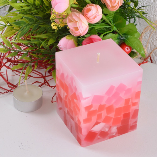 kit 3 peças velas mosaico vermelho degradê 7,5x7,5x9,5cm