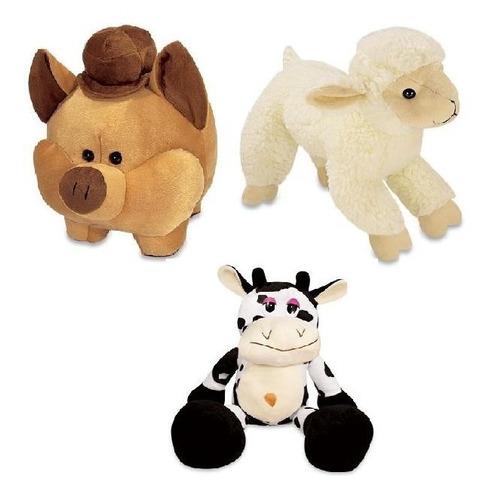 kit 3 pelúcia fazenda vaquinha porco ovelha antialérgicos