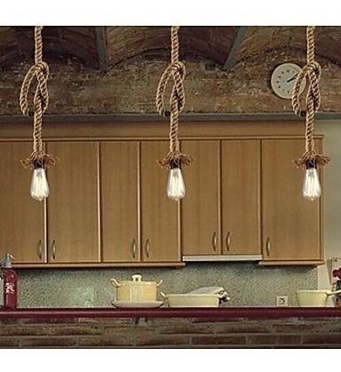 kit 3 pendente luminária corda com lâmpada filamento vintage