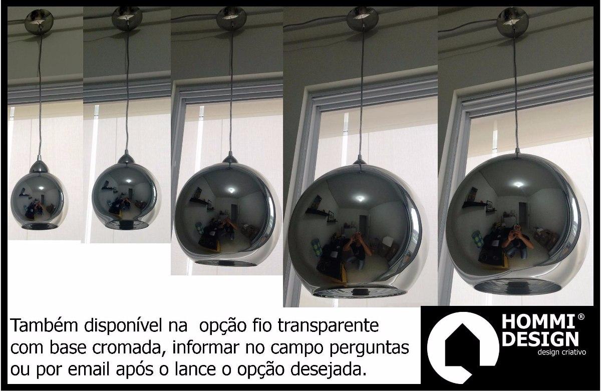 Kit 3 Pendentes 30 Cm Bola Globo Cromada Vidro Espelhada R 1 650