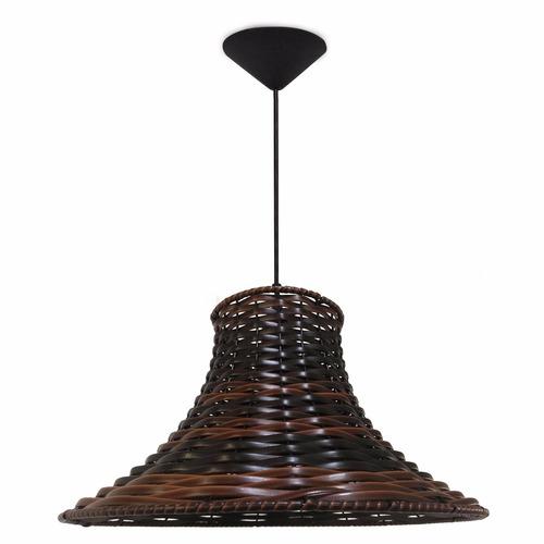 kit 3 pendentes luminária lustre chapéu chinês junco tijolo