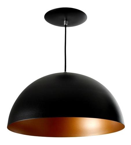 kit 3 pendentes meia bola preto com cobre premium 33cm.