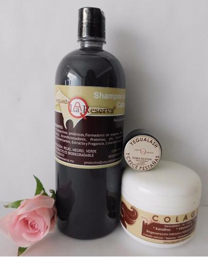 kit 3 piezas shampoo, colageno y yegualash y envio gratis