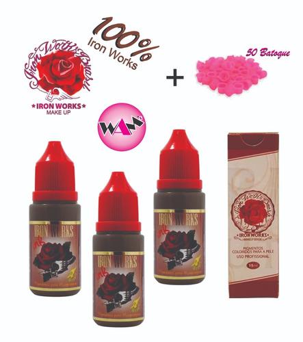 kit 3 pigmentos ironworks micropigmentação + brindes !!!!!!!