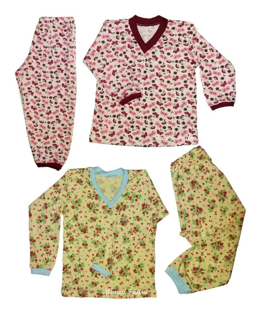 3767bd262dcf92 Kit 3 Pijama Infantil Frio Bebê Algodão Estampado Atacado
