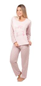 d9dd44917f0304 Pijama Longo Feminino Manga Estampada Inverno Calça Comprida